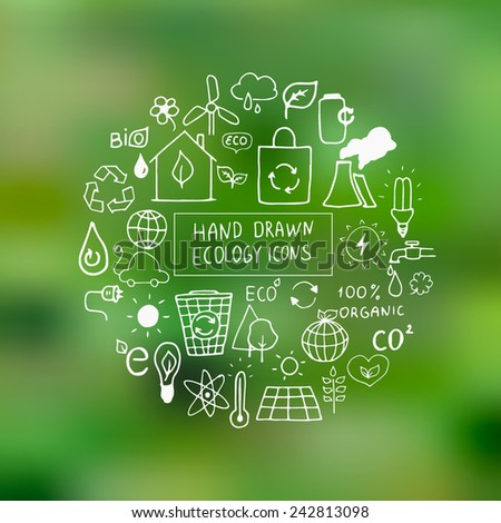 Eco hand drawn vector elements on green blurred background. Ecological design elements. EPS 10. - stock vector