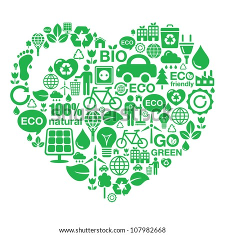 Eco heart background -  green ecology - stock vector