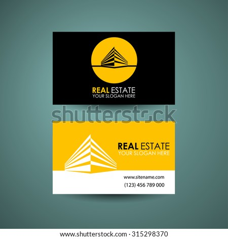 Eco home and real estate logo template. Business card design idea. - stock vector