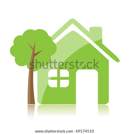 Eco home icon - stock vector