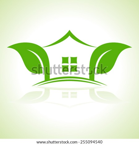 Eco home icon with leaf  vector illustration - stock vector