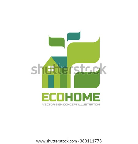 Eco home - vector logo template in flat style design. Ecology sign. Building symbol. Real estate creative icon. Green leaves concept illustration. Ecological farm. Design element.