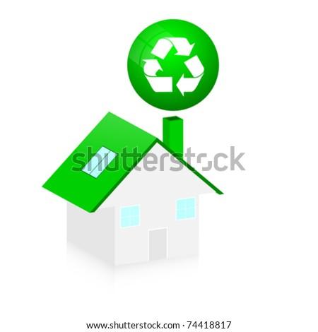 eco house - stock vector