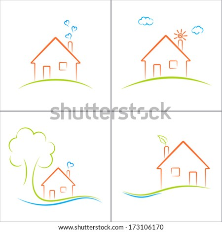 Eco house icons set - stock vector
