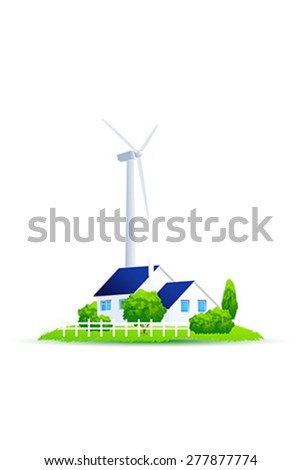 Eco House. Illustration of green energy for the house on a small plot of land. Wind Power Turbine. Isolated on white background. - stock vector