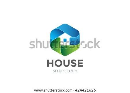 Eco House Logo Abstract Design Vector Template In Hexagon Shape. Home  Services Household Ecology Green