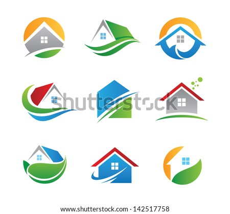 Eco house real estate logo green icons