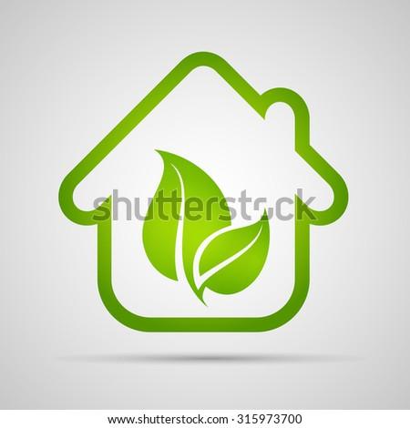 Eco house vector - stock vector
