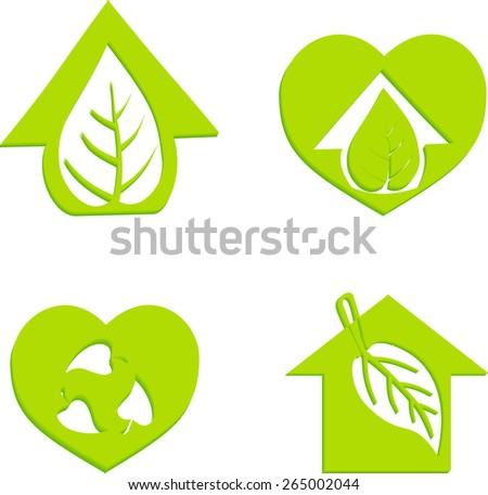 Eco House Vector Green house icons set Eco friendly housing Green energy icons Illustration Environmentally friendly home Eco House Icons Set - stock vector