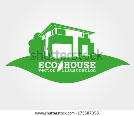 eco house vector icon - stock vector