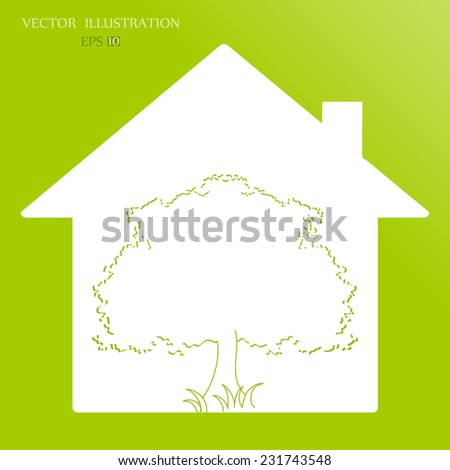 Eco House. Vector illustration of ecology the concept