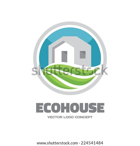 Eco House - vector logo concept. Building and ecology illustration. Vector logo template. Leaves and house illustration. Real estate logo. Green home logo illustration concept.  - stock vector