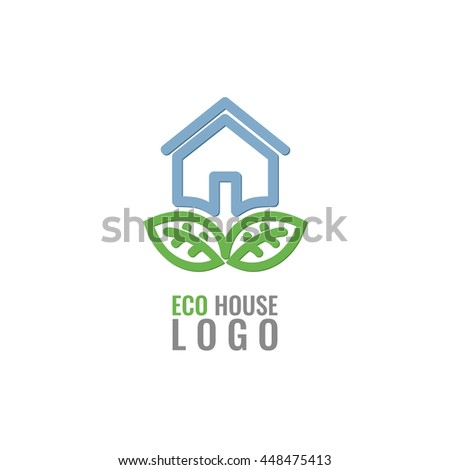 Eco house with green leaves vector logo concept. Real Estate Logo Design.