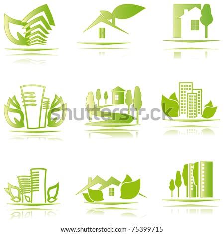 eco houses icons - stock vector