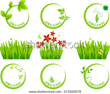 Eco icon and grass - stock vector