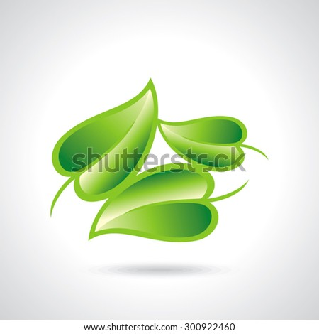 Eco icon green leaf vector illustration isolated - stock vector