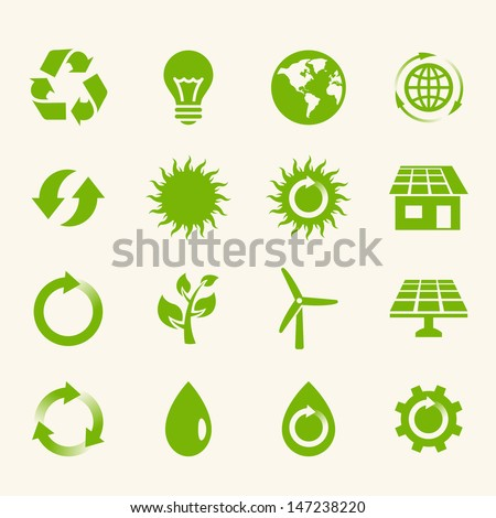 Eco Icon Set. - stock vector