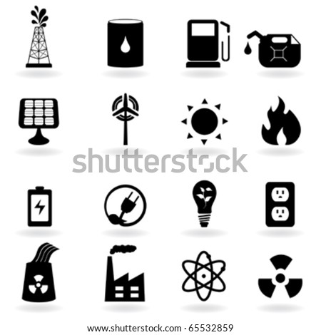 Eco icons for clean energy and environment - stock vector