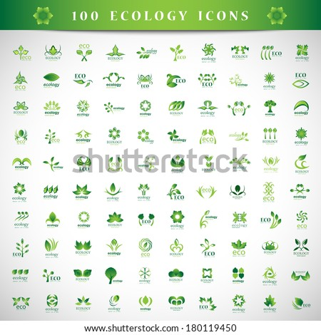 Eco Icons Set - Isolated On Gray Background - Vector Illustration, Graphic Design Editable For Your Design. - stock vector