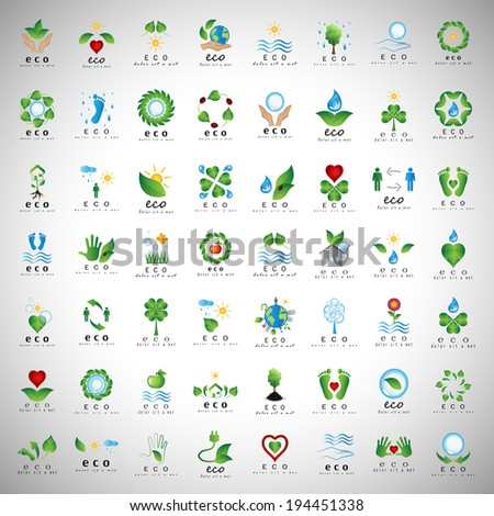 Eco Icons Set - Isolated On Gray Background - Vector Illustration, Graphic Design Editable For Your Design  - stock vector