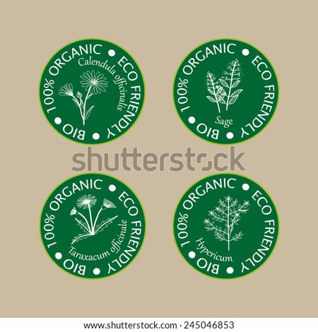 Eco icons. Vector emblems and labels for organic cosmetics.
