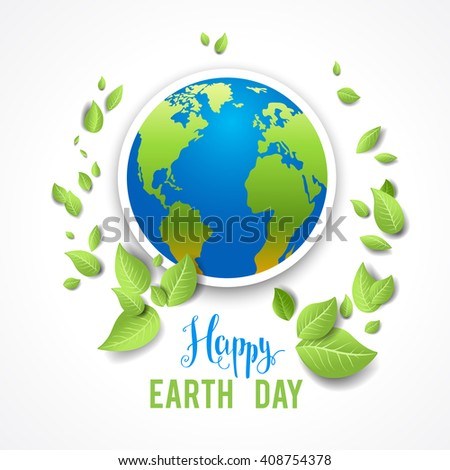 Eco image with globe for design banner,ticket, leaflet and so on.Template page for Earth day. Holiday card. - stock vector