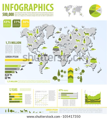 Eco info graphic vector with map of World - stock vector