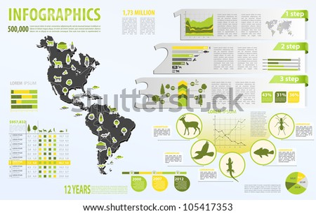 Eco info graphic vector with map of World