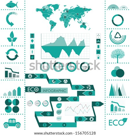 Eco info graphics with world map, charts, signs, symbols - stock vector