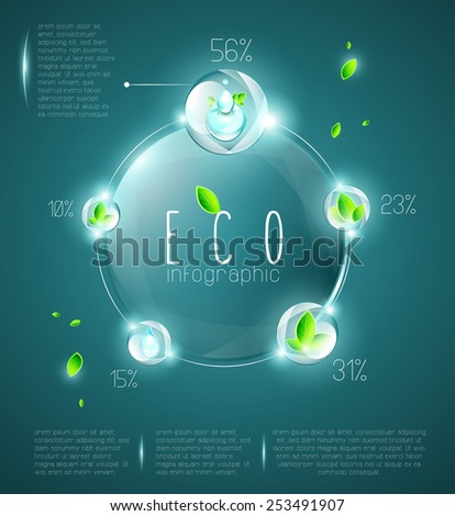 Eco infographic elements, named layers, transparency, EPS 10