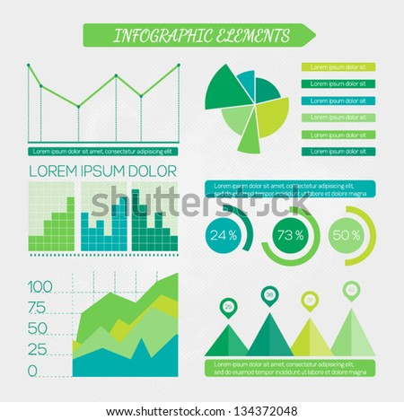 Eco infographic elements set. Design elements for business presentation. Vector illustration - stock vector