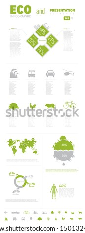 ECO Infograpic Element and Presentation with Worldmap. Print Usage. - stock vector
