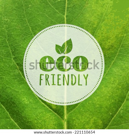 Eco Label With Leaf Texture, Vector Illustration - stock vector