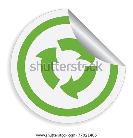 Eco label with recycle symbol. Vector illustration. - stock vector