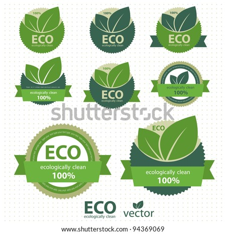 Eco labels with retro vintage design. Vector - stock vector