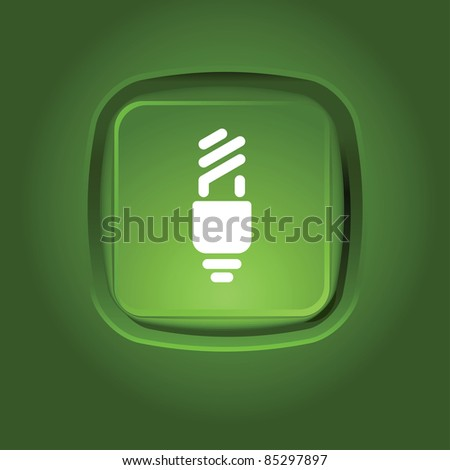 eco light bulb icon on the green button - stock vector