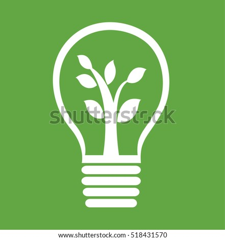 Eco Light Bulb Save Energy Green planet earth vector sign illustration stock