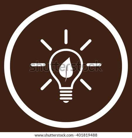 Eco Light Bulb vector icon. Image style is a flat icon symbol inside a circle, white color, brown background. - stock vector
