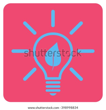 Eco Light Bulb vector icon. Image style is bicolor flat eco light bulb icon symbol drawn on a rounded square with pink and blue colors.