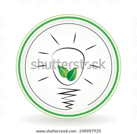 Eco light bulb with leafs inside circle concept icon or sign - stock vector