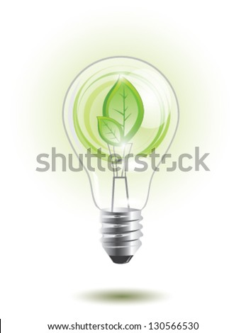 Eco lightbulb with plant inside, EPS 10