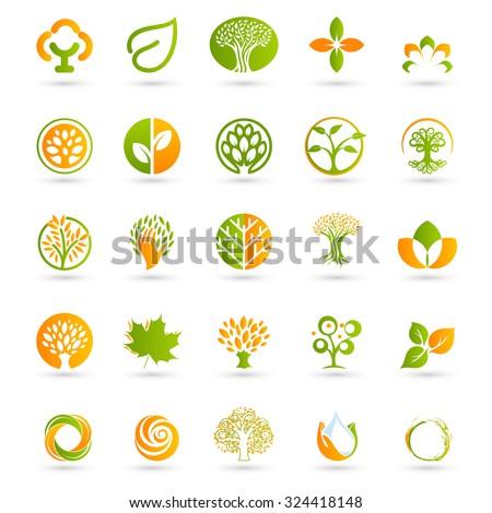 Eco logo. Logo set. Vector logo. Logos set. Orange logo. Green logo. Logo collection. Trees logo. Leaf logo. Rose logos. Circle logo. Cross logo. Best logos. New logo. Beauty logo. Flat logos. Logos. - stock vector