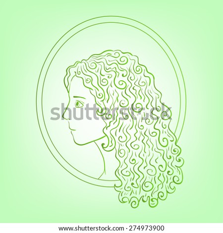 eco logo or background with green sketch silhouette of girl - stock vector
