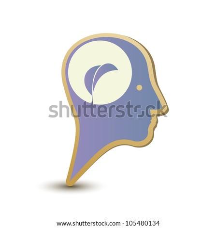 Eco man. Label sticker - stock vector