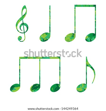 eco musical symbols notes in green leaves vector illustration