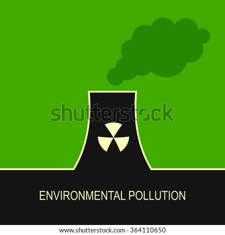 Eco nature factories damage background illustration concept design. Dirty smoke, ecology problems - stock vector
