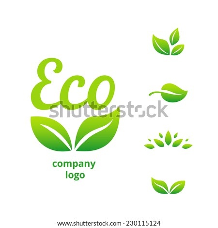 eco or bio friendly company logo, green leaves on white background - stock vector