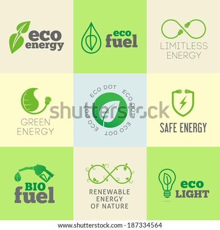 Eco or green energy concept vector icon or logo set - stock vector
