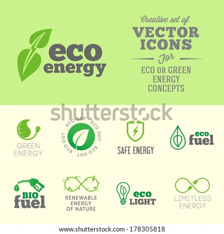 Eco or green energy concept vector icon or logo set with typography - stock vector