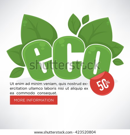 eco, organic and green, vector  banner template design